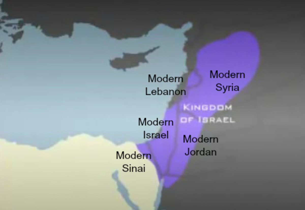 Boundaries of Kingdom of Israel Map, 1000 BCE, under King David, Overlaid on Modern Boundaries of Egypt, Israel, Saudi Arabia, Jordan, Syria and Lebanon