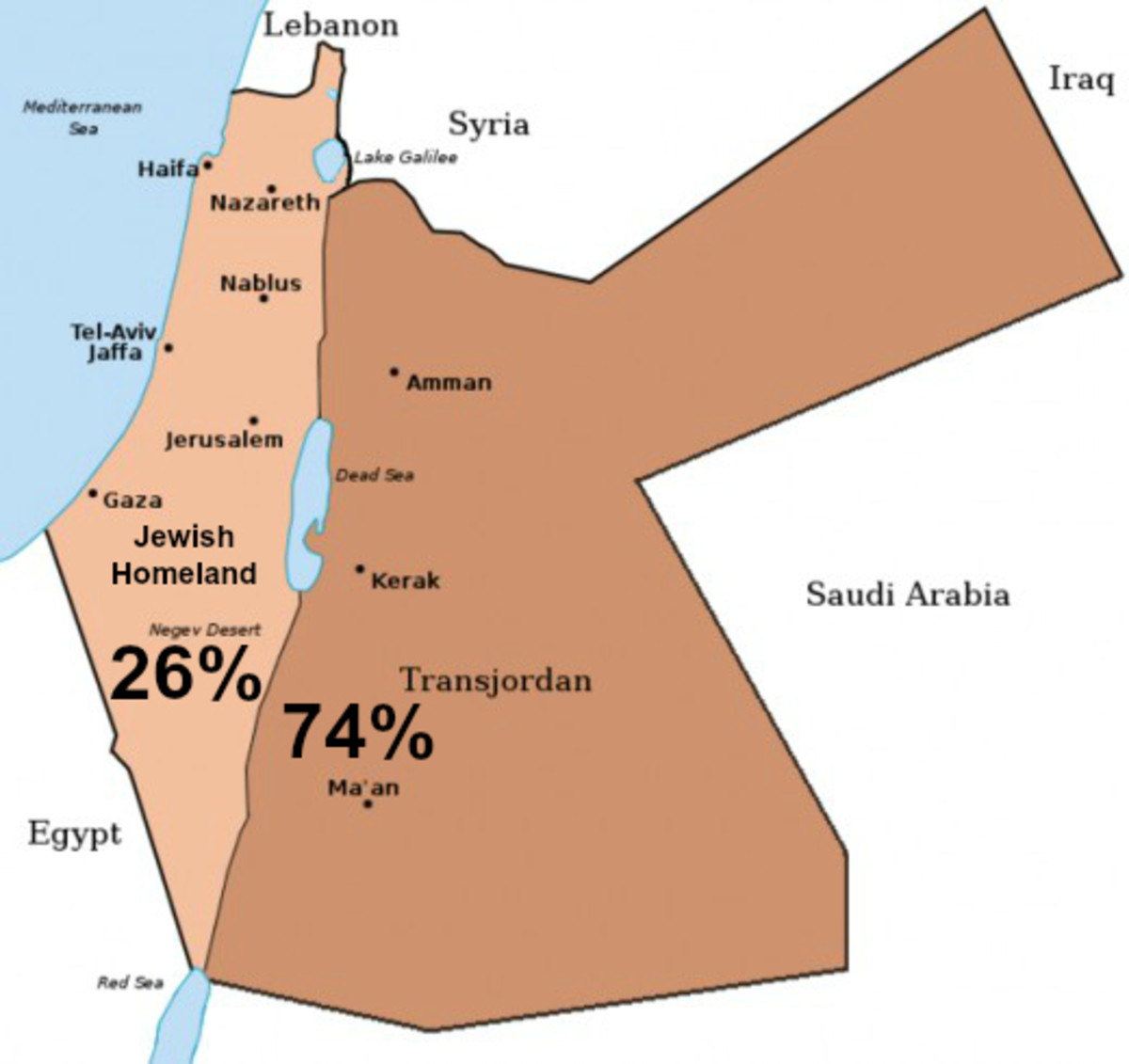 1922 Map of Land for Jewish Homeland and Transjordan under the Mandate for Palestine