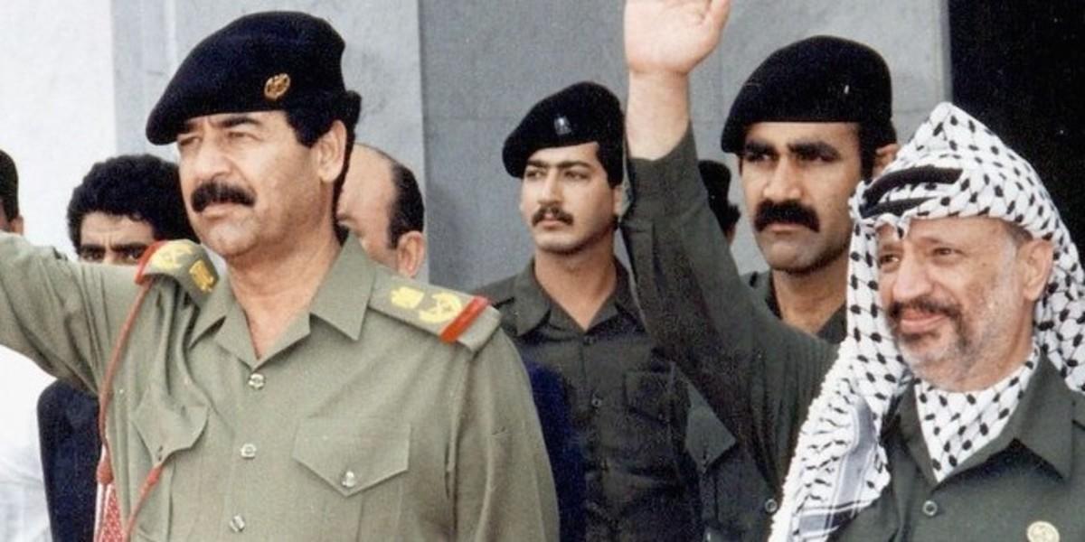 Iraq President Saddam Hussein with PLO Chairman Yasser Arafat