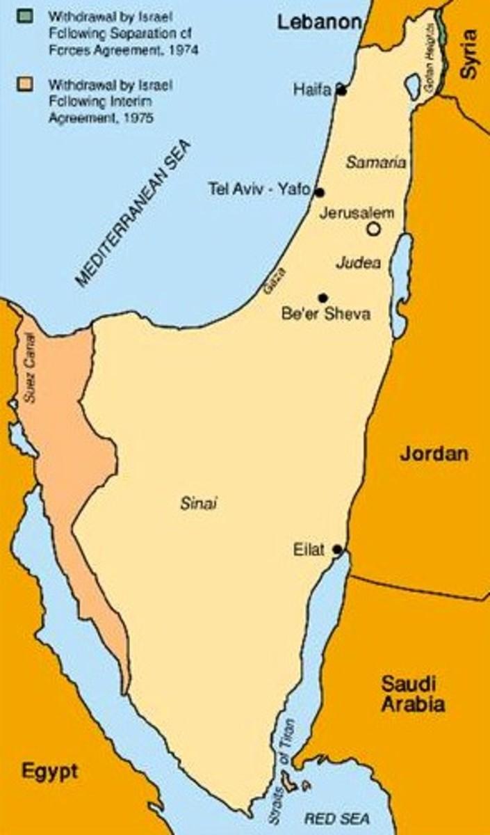 Map of Yom Kippur War Disengagement of Forces