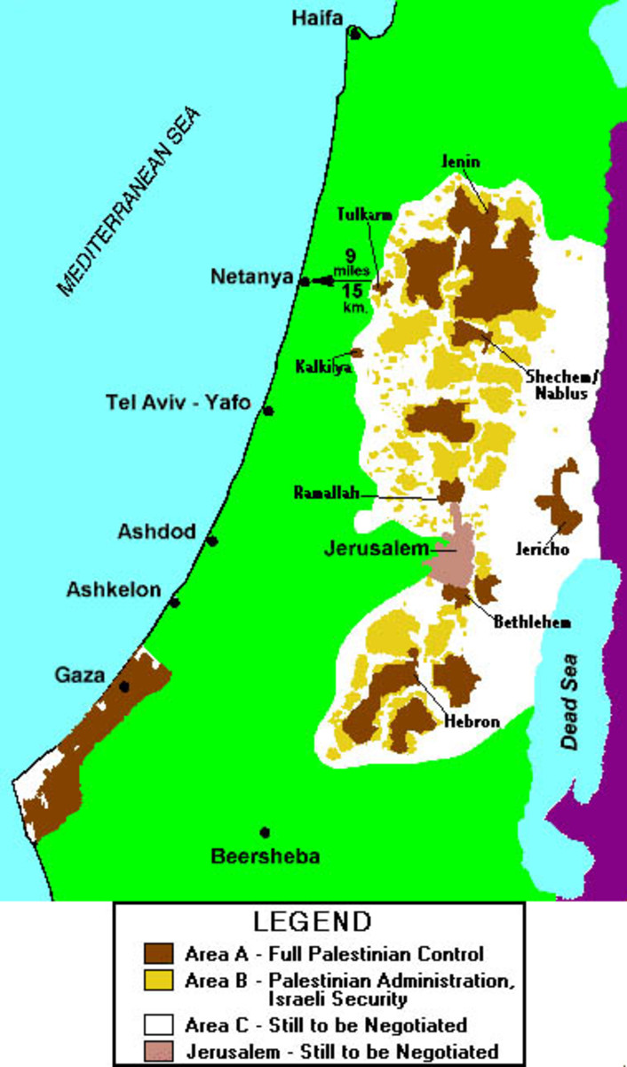 Map of Areas A, B, and C and Jerusalem under Oslo Accords