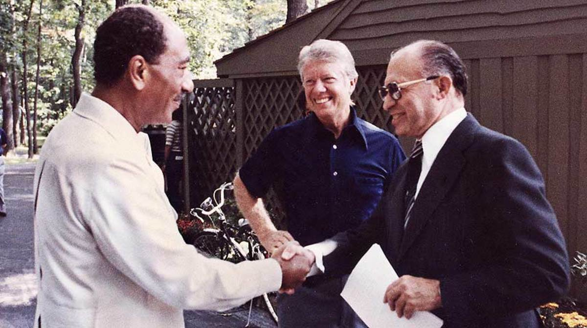 Egyptian President Anwar Sadat,  U.S. President Jimmy Carter and  Israeli Prime Minister Menachem Begin at Camp David, Maryland, 1978