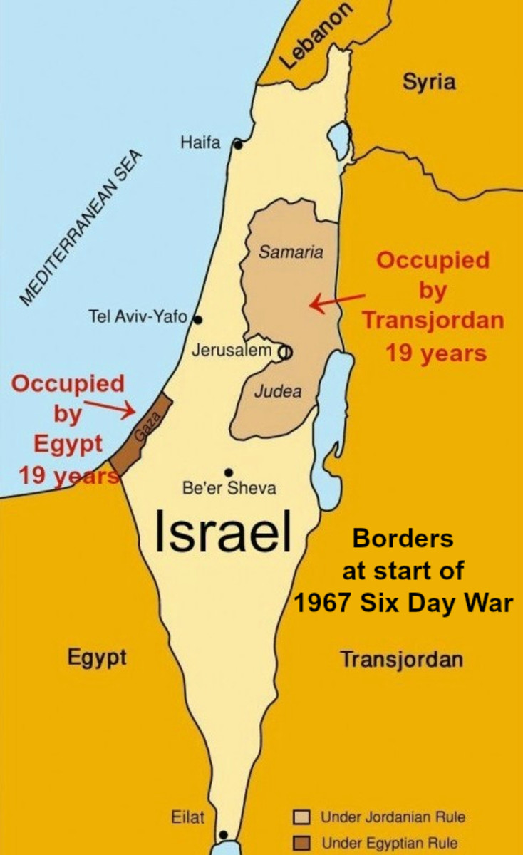 Israel Borders at Start of 1967 Six Day War