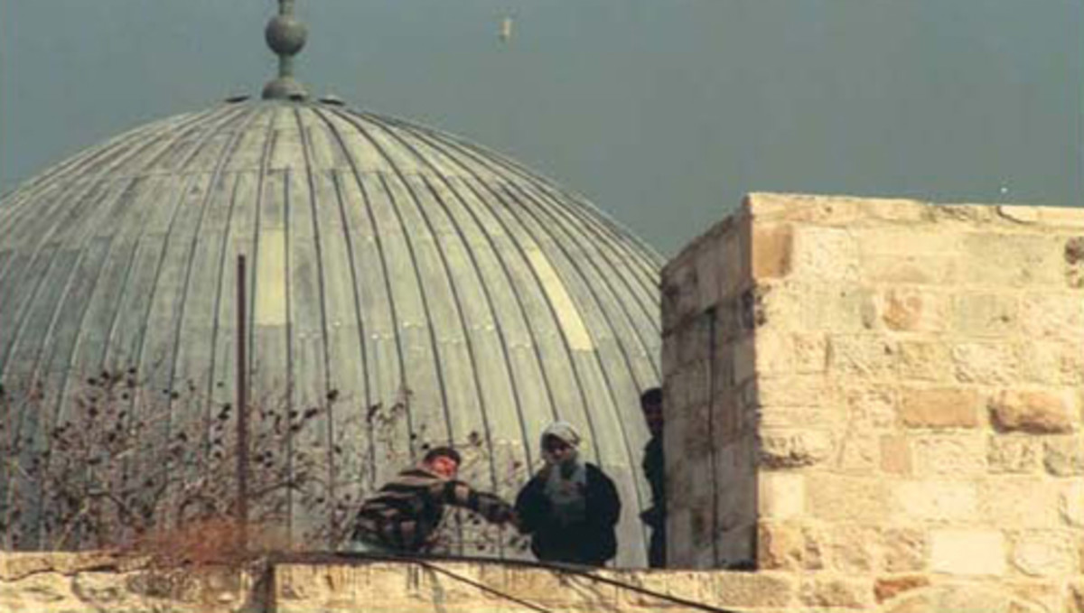 Palestinian Children Throwing Stones from Al Aksa Mosque on Jews Below, September 29, 2000