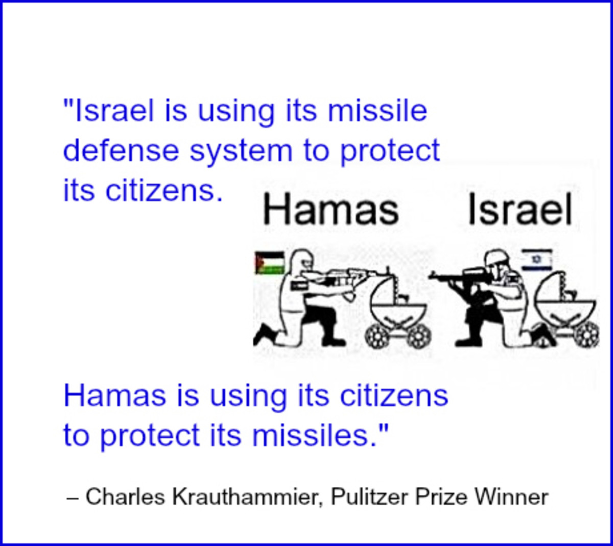 """Israel is using its missile defense system to protect its citizens; Hamas is using its citizens to protect its missiles"" quotation from Charles Krauthammier"