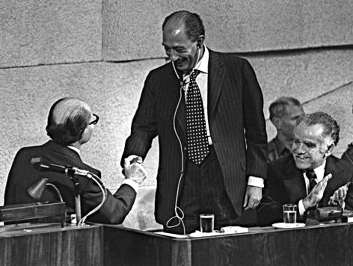 Israel Prime Minister Menachem Begin Shakes Hands with Egyptian President Anwar Sadat  as Future Israel Prime Minister Yitzhak Shamir Applauds during Speech before Israel Knesset, November 19, 1977
