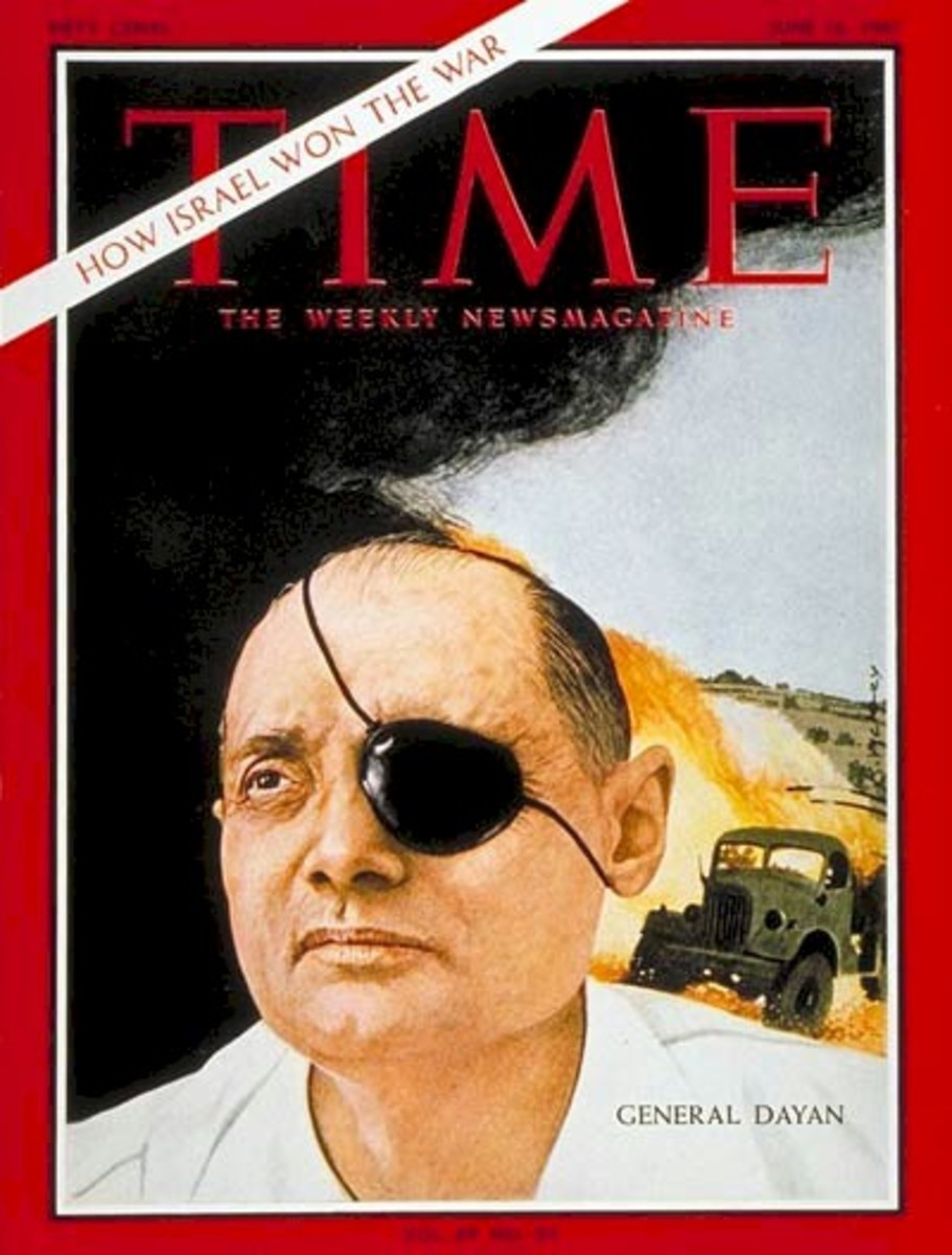 Israel Minister of Defense in Yom Kippur War Moshe Dyan on Time Magazine Cover, 1973