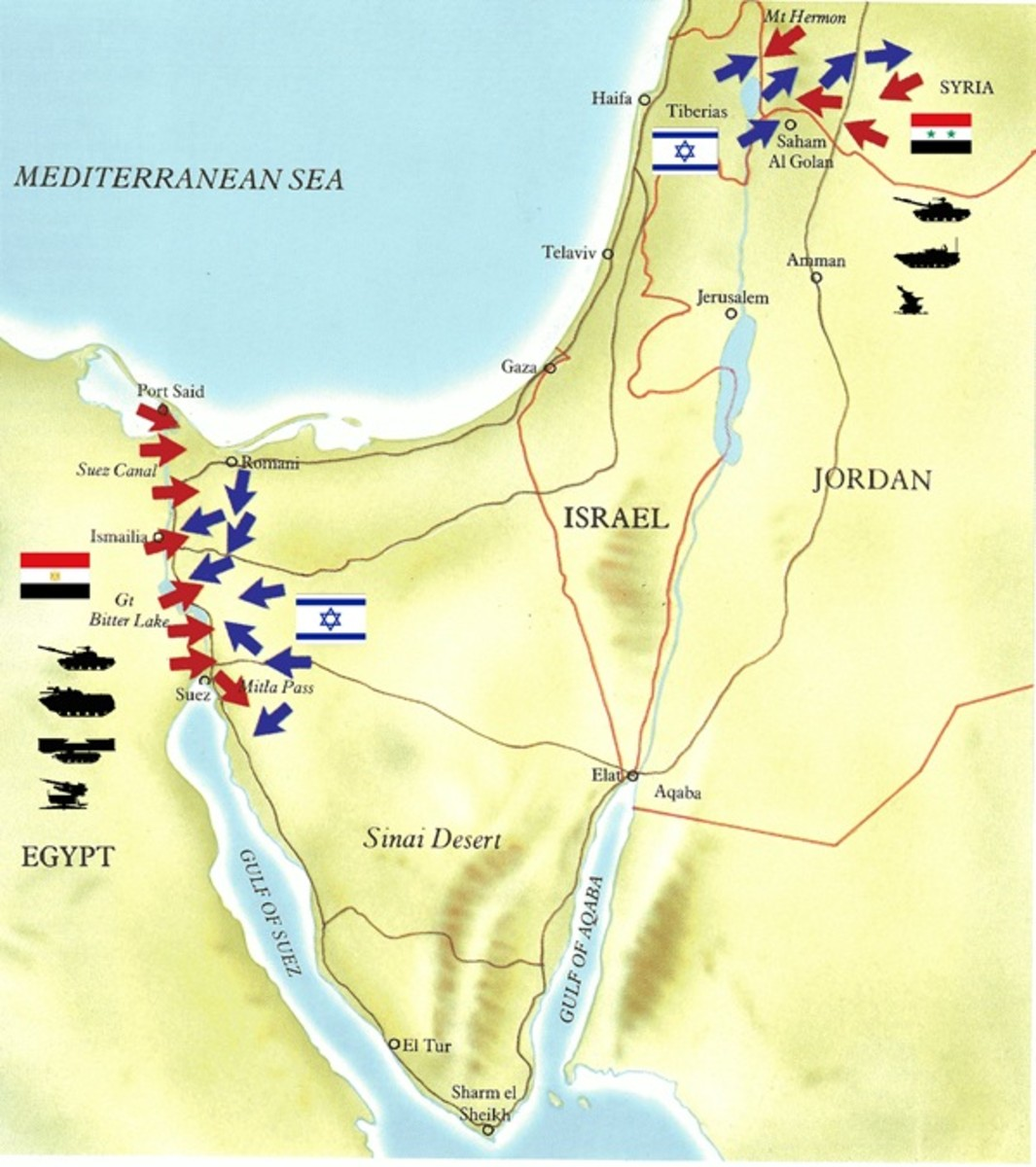Map of Arab Invasion of Israel in 1973 Yom Kippur War
