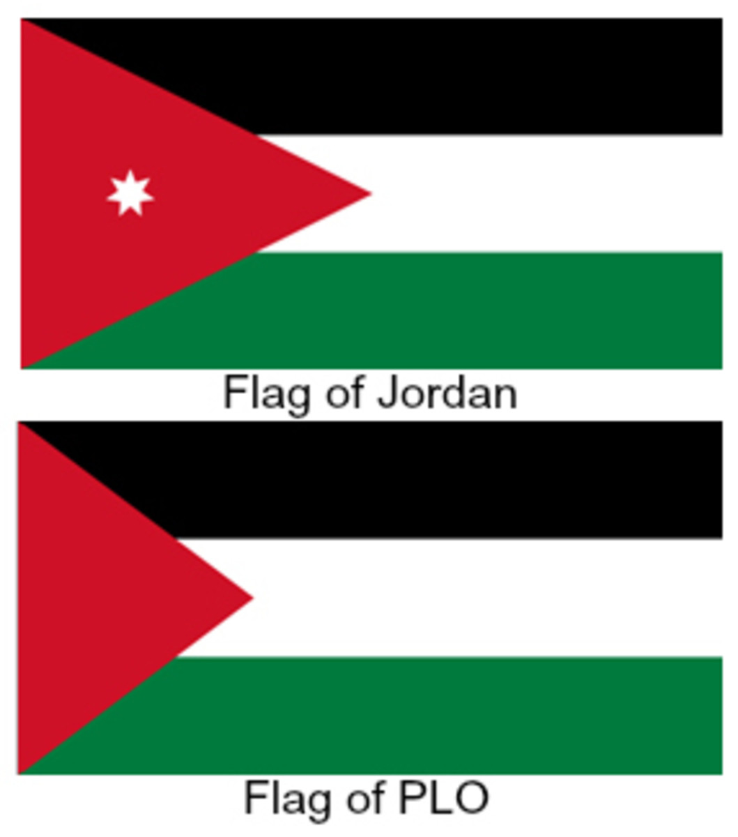 Flags of Jordan and the PLO