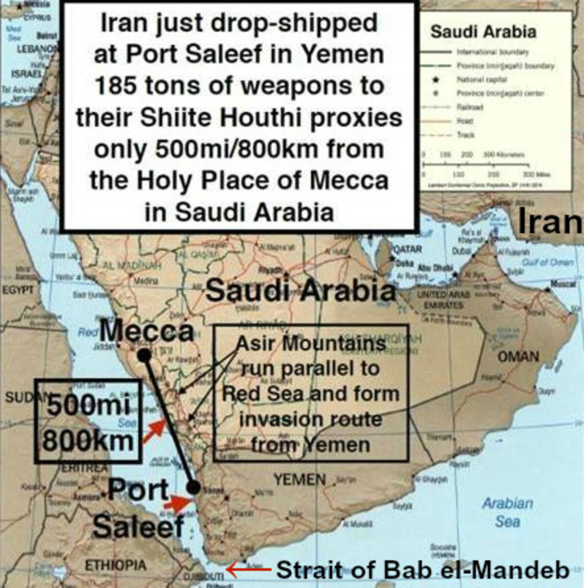 Map of Yemen and Mecca, Saudi Arabia, during Iran-sponsored Coup in Yemen, March, 2015