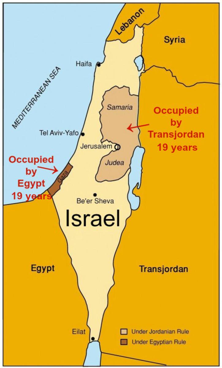 Armistice Lines of 1949 between Israel, Egypt and Jordan