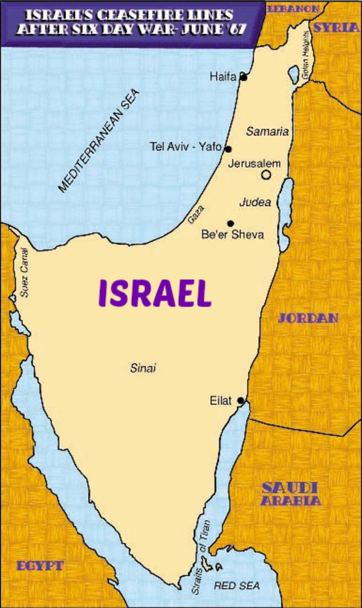 Map of Israel June 10, 1967, at the End of the Six Day War
