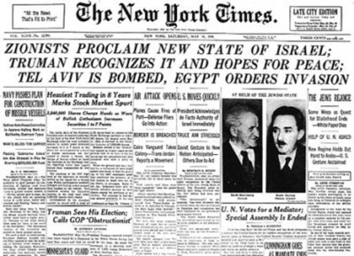 New York Times Front Page Announcing New State of Israel and Outbreak of War, May 14, 1948