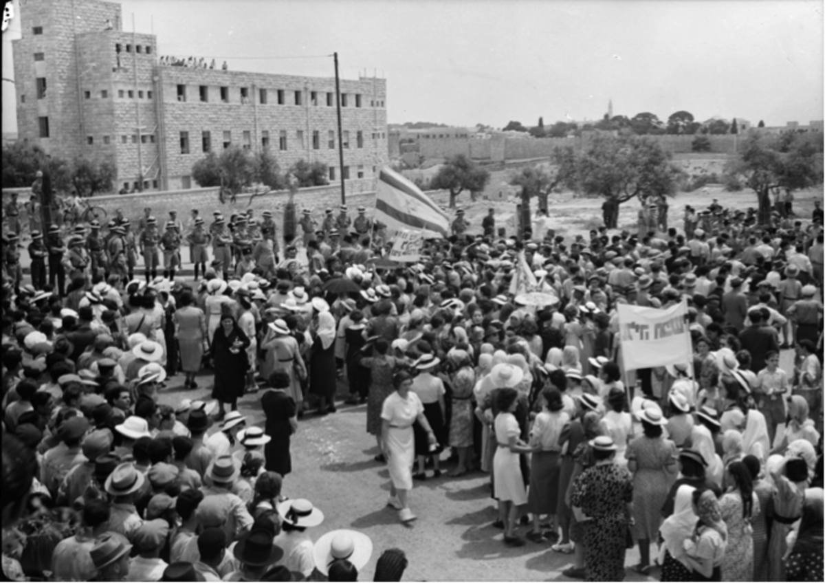 Jewish Demonstrators Face British Soldiers in Jerusalem,  May 22, 1939