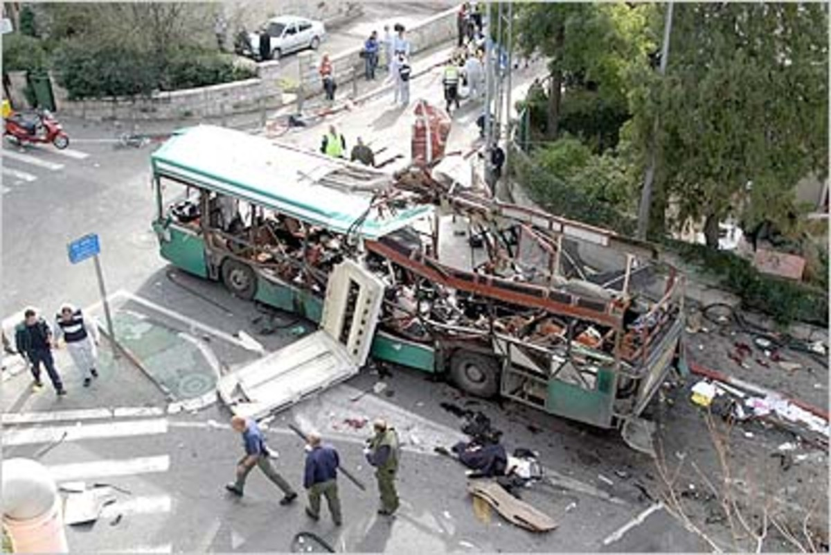 A Bus Exploded by a Suicide Bomber in Jerusalem, January 29, 2004, Killing Eleven (Jews, Arabs, Tourists and Foreign Students)