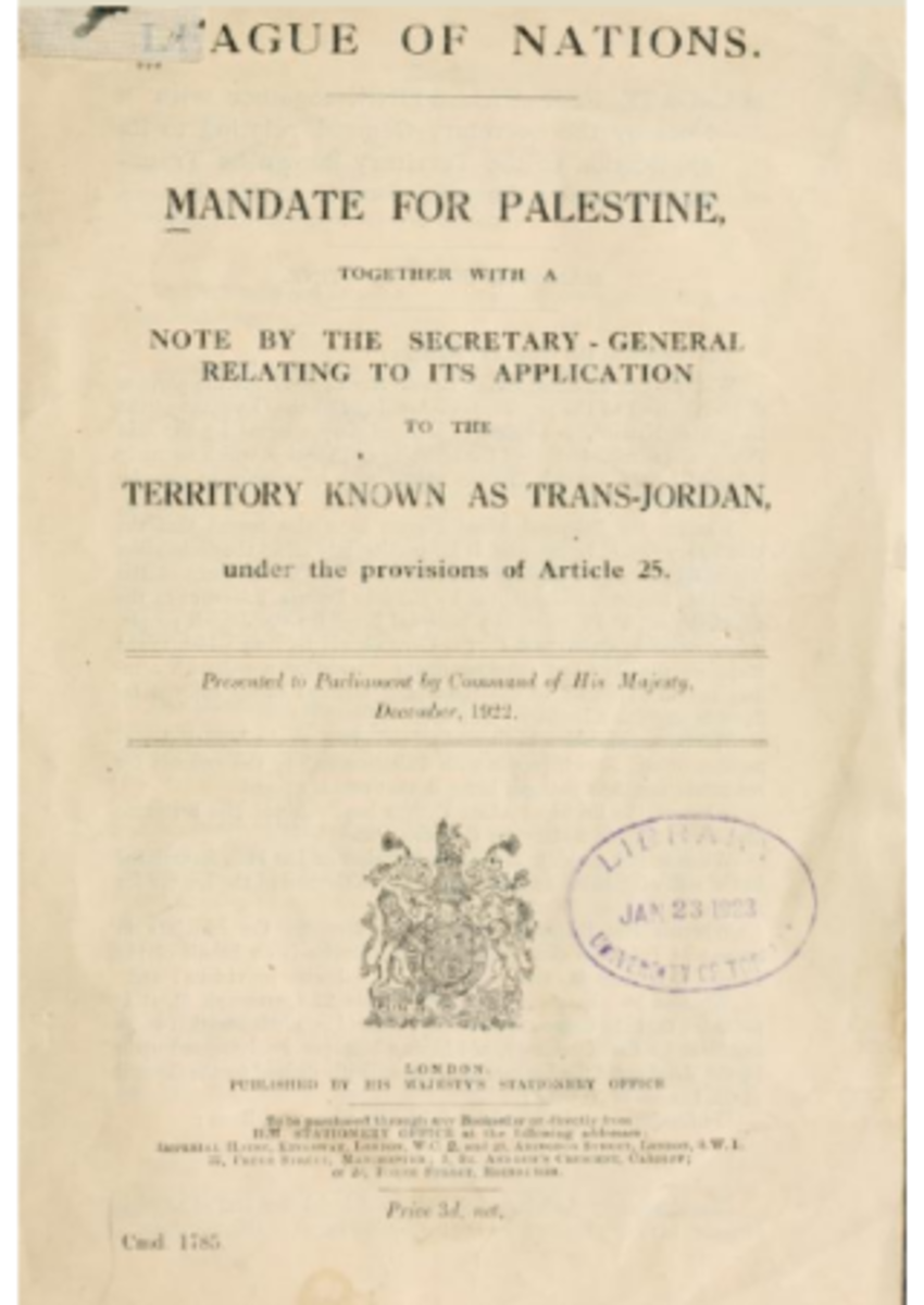 British Command Paper 1785 for the Division of the British Mandate of Palestine, December, 1922