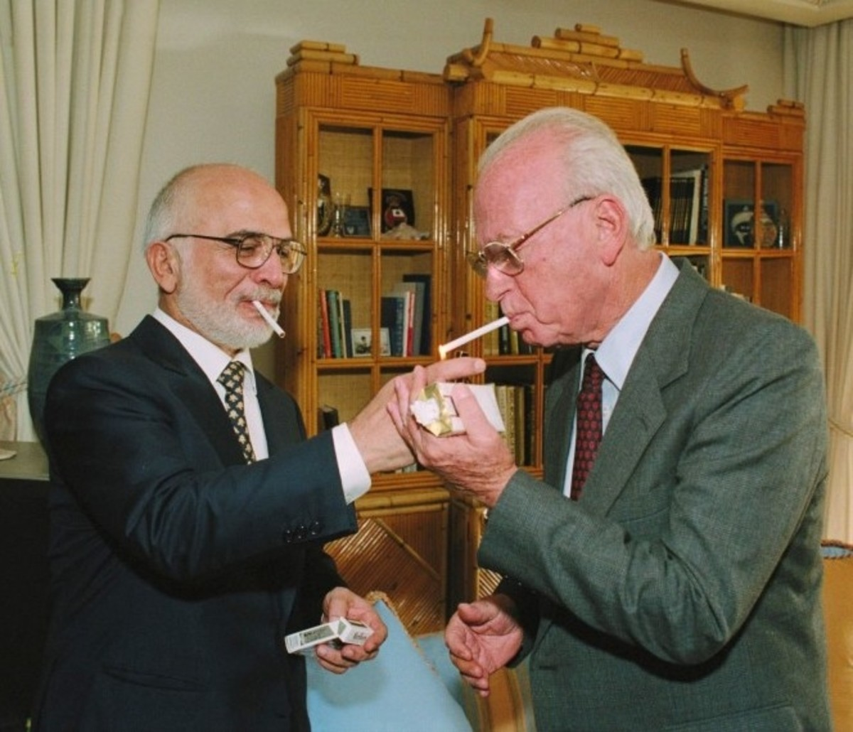 Jordan King Hussein I  Entertains Israel Prime Minister Rabin at His Royal Residence in Aqaba, Jordan, after Peace Treaty Signing Ceremony in Jordan on October 26, 1994