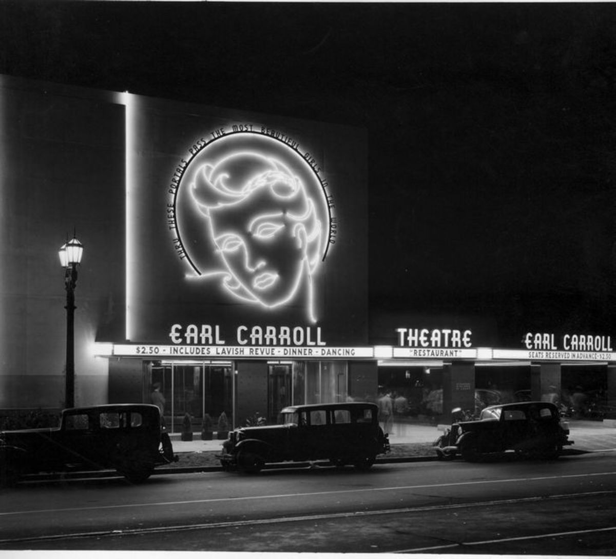 20-foot-high neon head portrait of entertainer Beryl Wallace Earl Carrpll Theatre 1940s