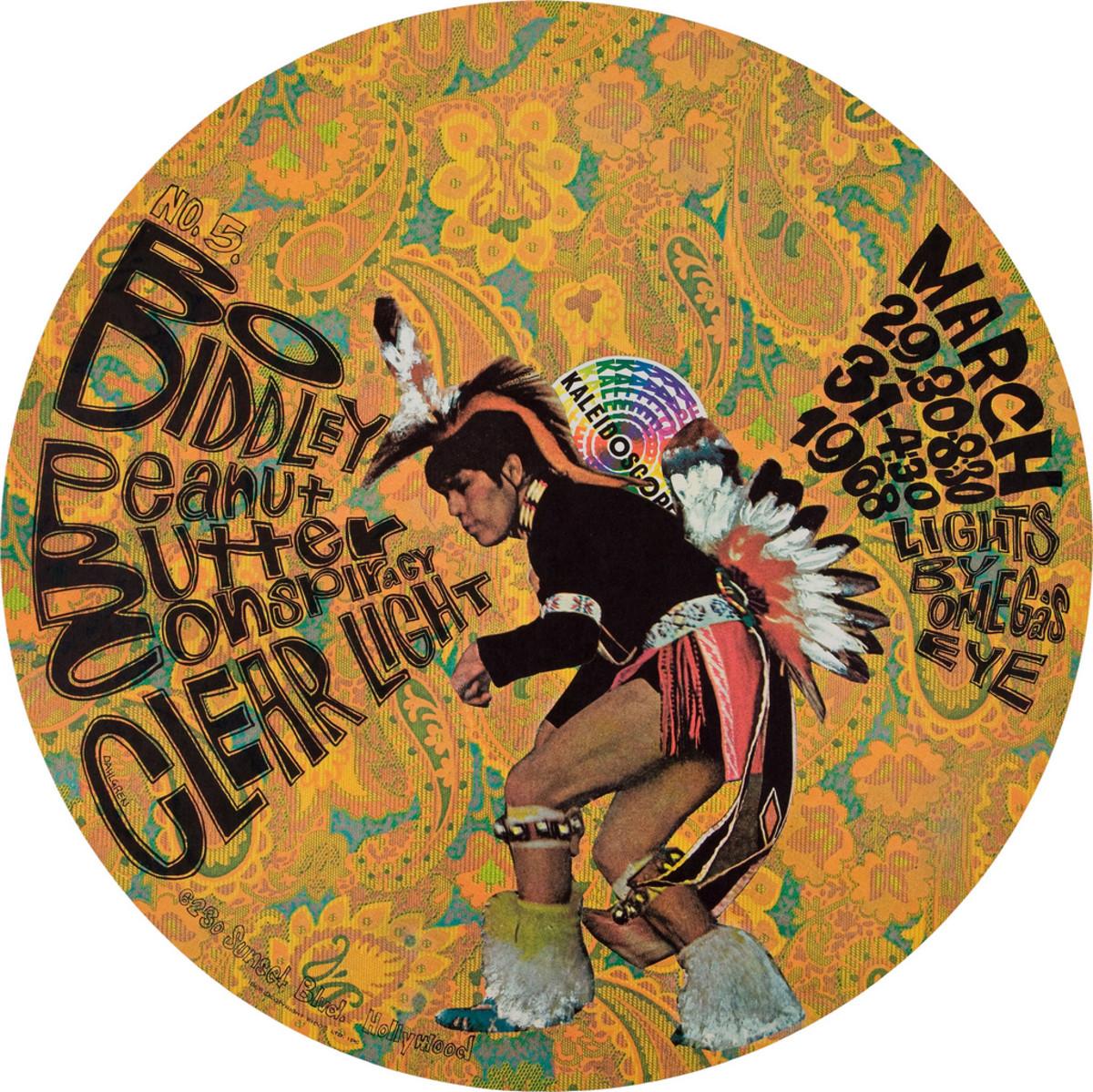 Bo Diddley, Peanut Butter Conspiracy, Clear Light, Kaleidoscope Concert Poster (1968)  Poster #5 In Series Art by Dick Dahlgren,