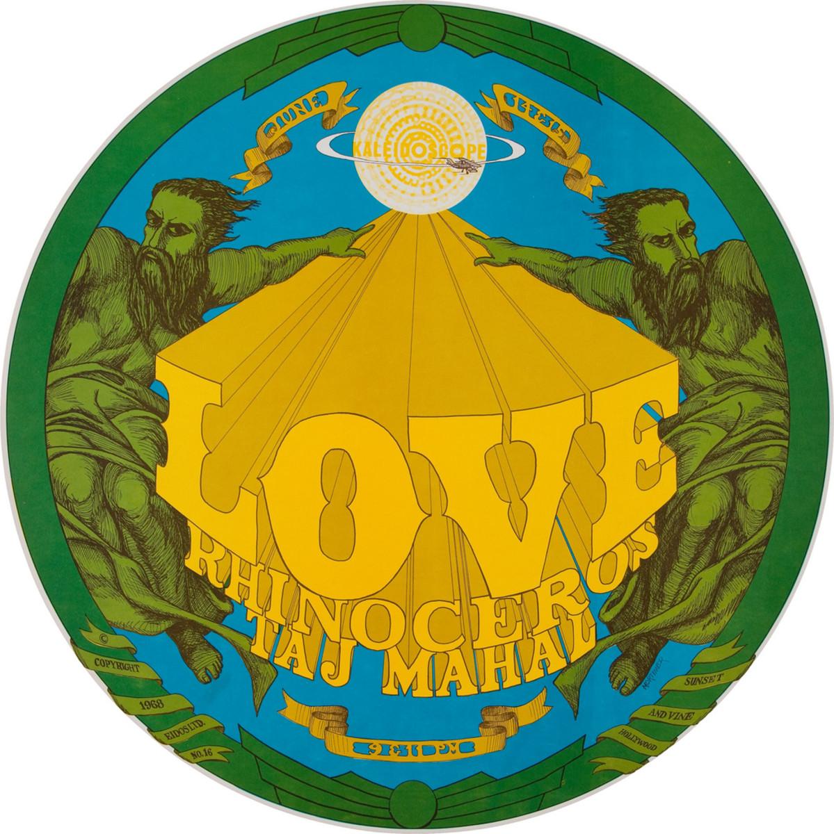 Love, Rhinoceros, Taj Mahal, Kaleidoscope Round Concert Poster (1968) Poster #16 from Series