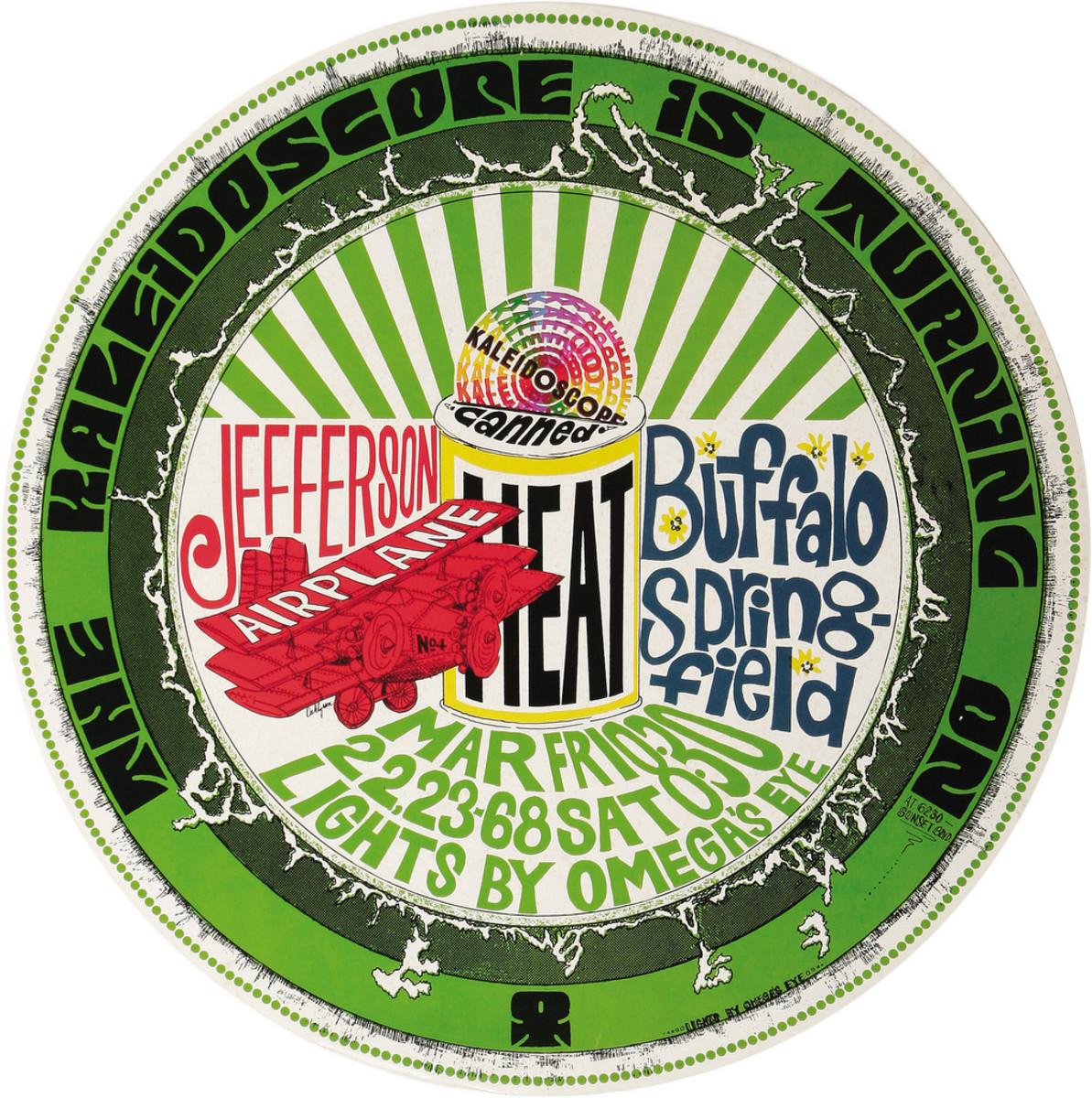 Jefferson Airplane, Canned Heat, Buffalo Springfield, Kaleidoscope Concert Poster (1968) Poster #4 Type 1 from Series with Art by Dick Dahlgren,