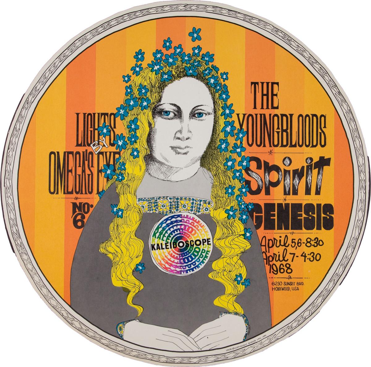 Youngbloods, Spirit, Genesis, Kaleidoscope Concert Poster (1968) Poster #6 In Series, Art by Dick Dahlgren,