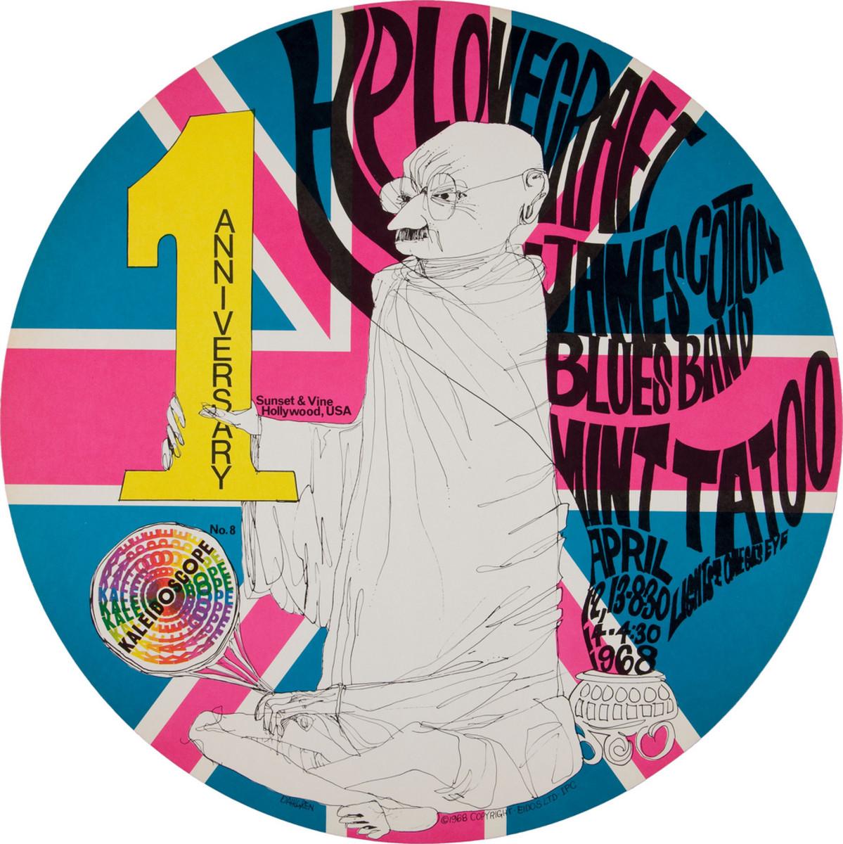 H.P. Lovecraft, James Cotton Blues Band, Mint Tattoo, Kaleidoscope Concert Poster (1968)  Poster #8 In Series Art by Dick Dahlgren