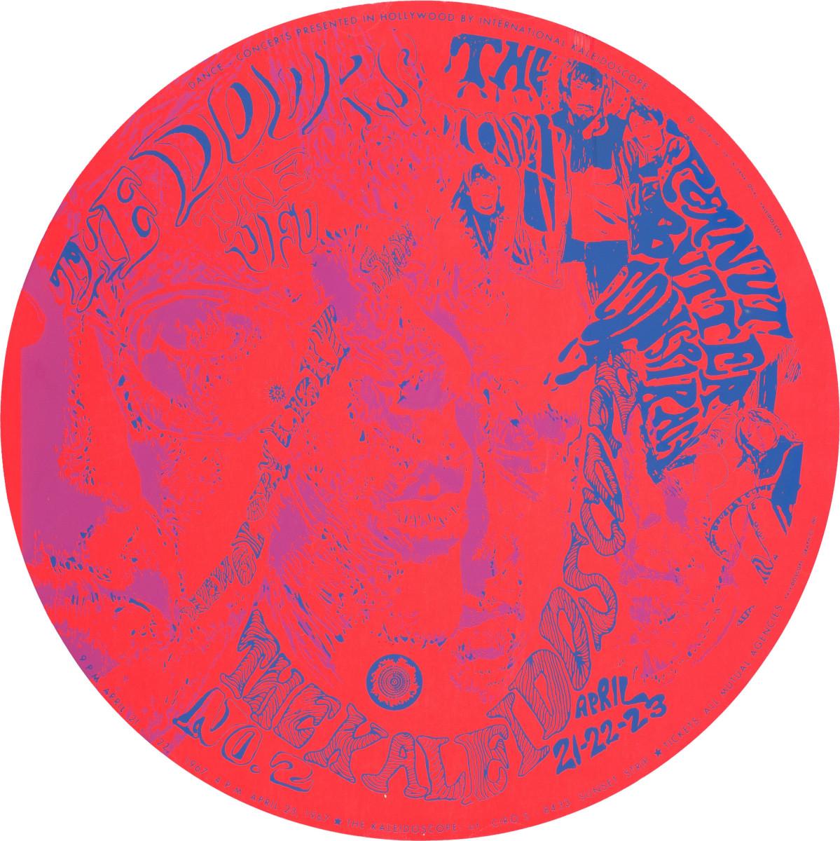 The Doors, Peanut Butter Conspiracy, UFO, Kaleidoscope Concert Poster April 21-23, Ciro's 8443 Sunset Strip (1967) Poster #2 In Series Artist John Douglas Cline