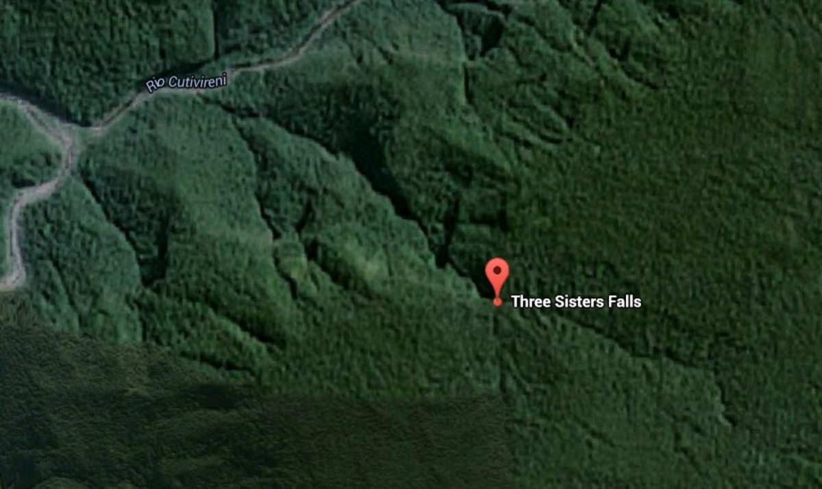 The Three Sisters Falls are located so deep in the jungle of Peru that even the Google satellite has not captured a clear enough image to show us yet. The falls are located very close to the marker in the picture and are flowing from right to left.