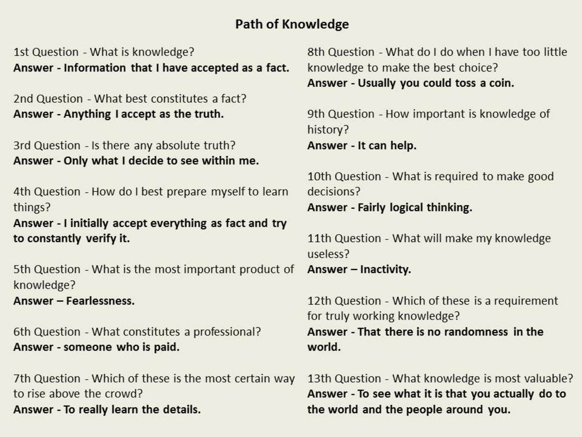 Answers to the Path of Knowledge meditation path