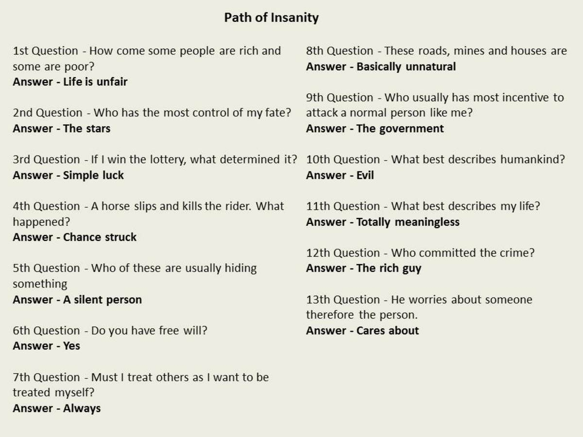 Answers to the Path of Insanity meditation path