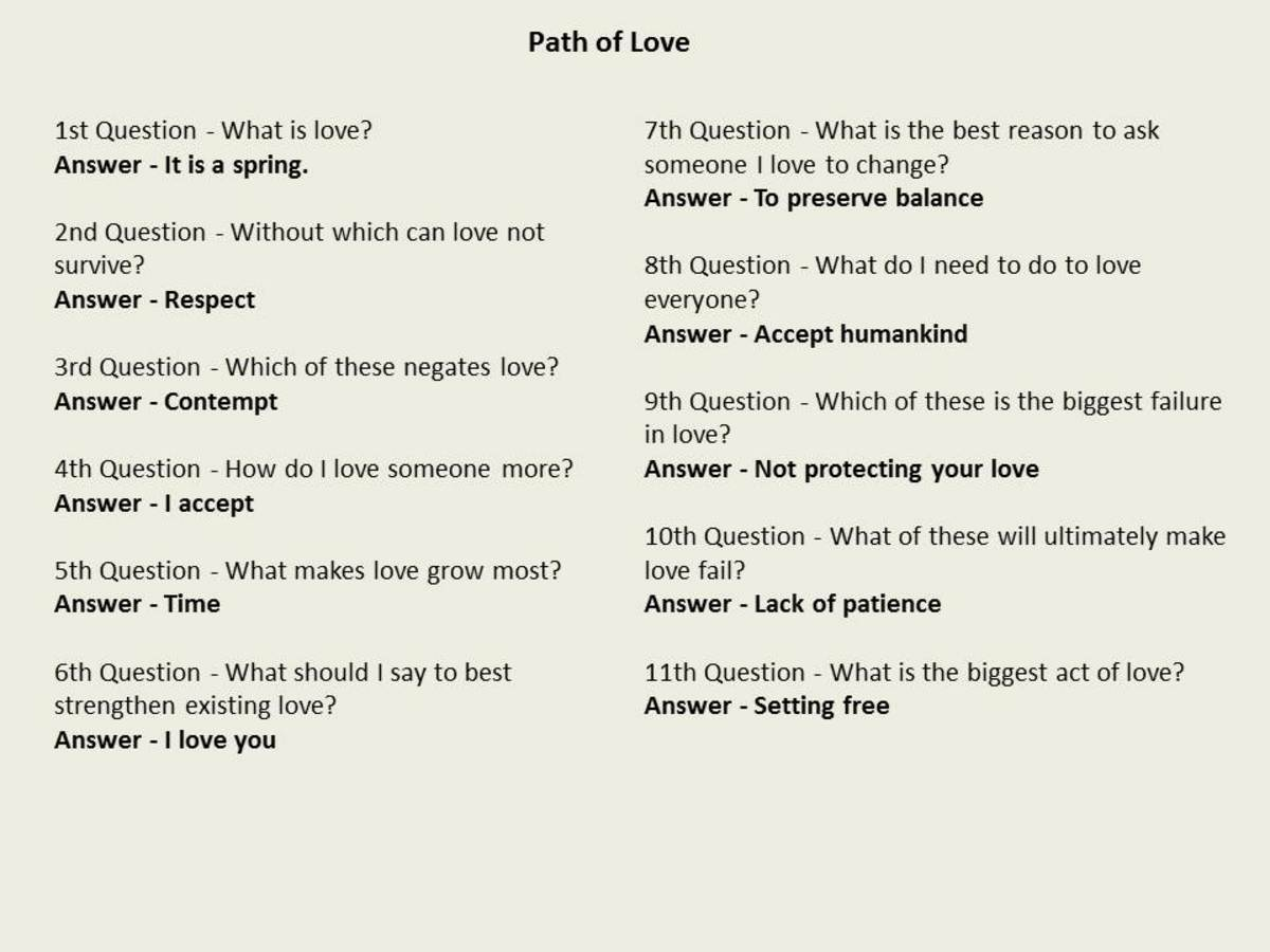 Answers to the Path of Love meditation path
