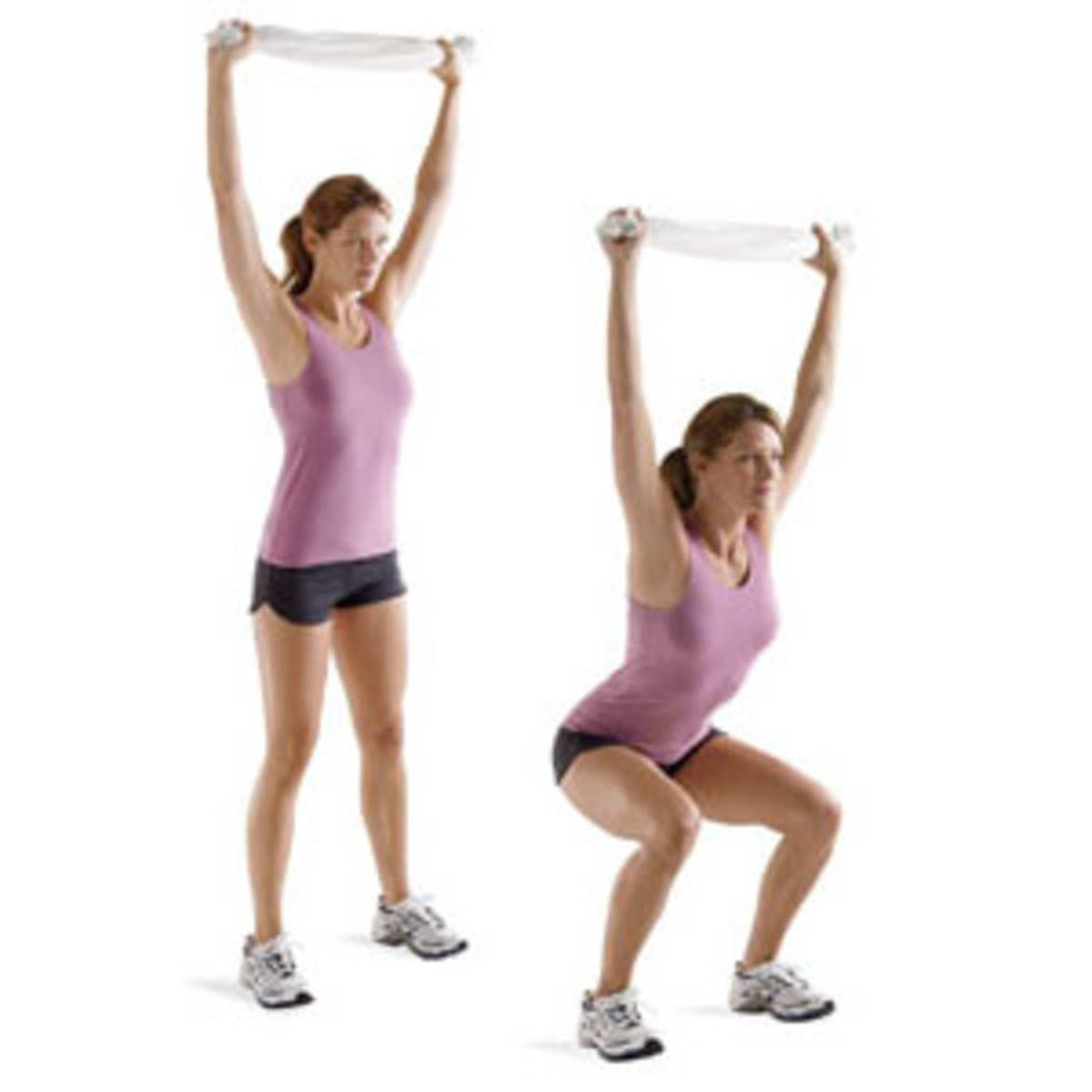 Performing the overhead squat with a towel. Note that the arms are lined up over the shoulders and hips.