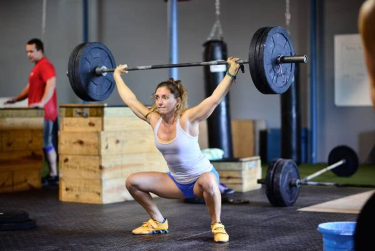 Bottom position of the barbell overhead squat.