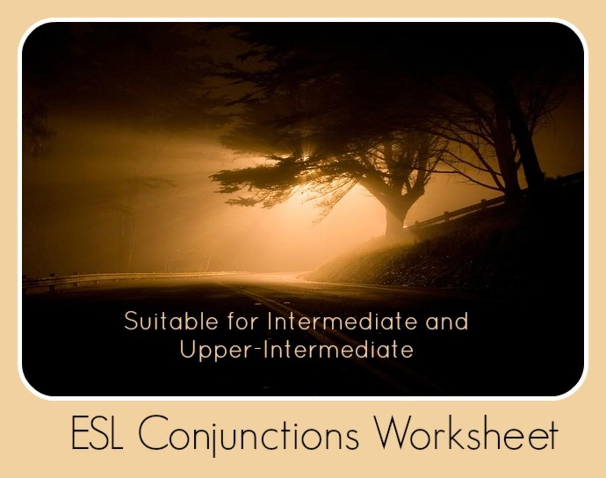 ESL Conjunctions Worksheet for Intermediate and Upper-Intermediate