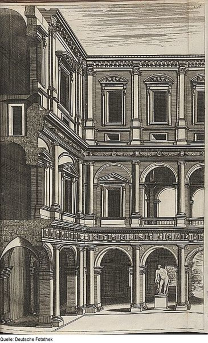 Detail of the courtyard of Palazzo Farnese (Charles Philippe Dieussart, 1697)