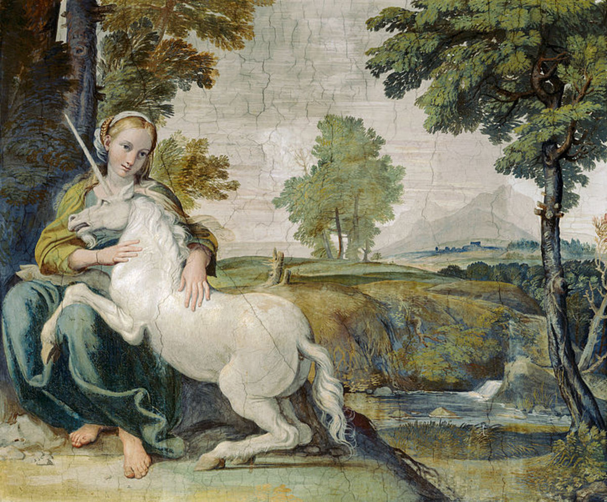 Domenichino, Virgin with Unicorn (a. 1603), Rome Palazzo Farnese - The woman might  be a portrait of the beautiful Giulia Farnese