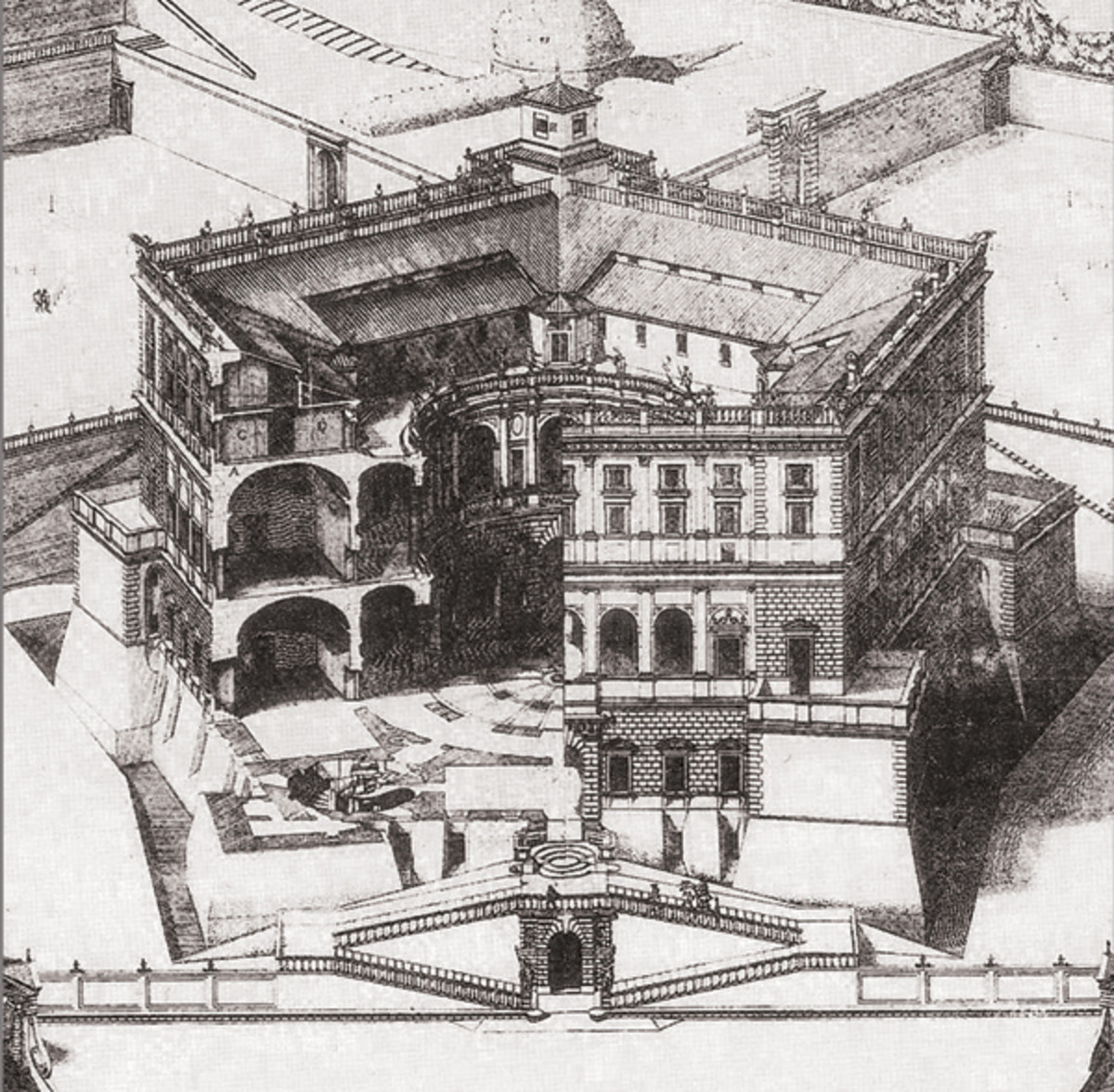 Palazzo Farnese in Caprarola, engraving by Paul Letarourilly (a 1850)