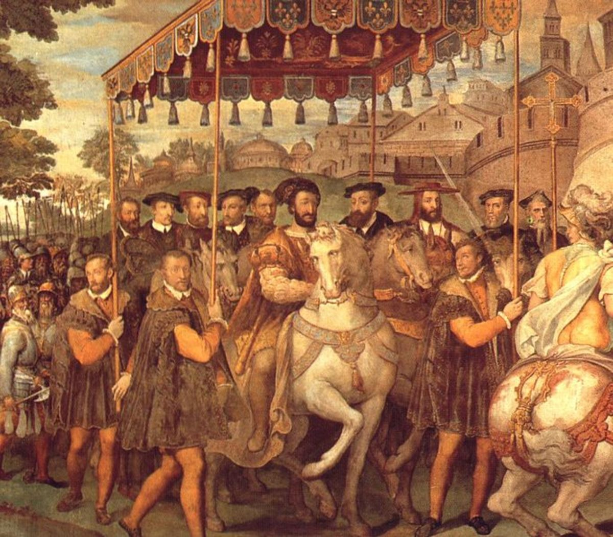 Taddeo Zuccari, Palace of Caprarola (a. 1560), The  Emperor Charles V, Francis I of France, and  the cardinal Alessandro  Farnese enter in Paris in 1540