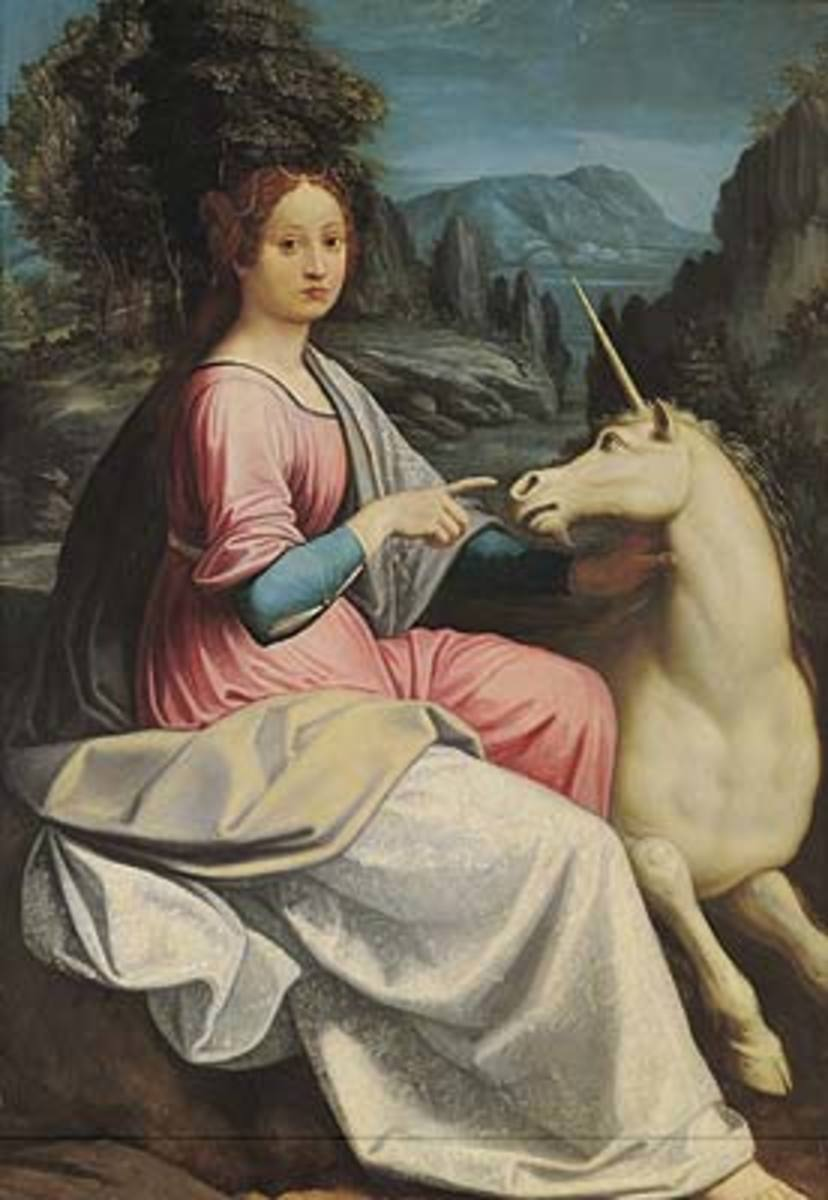 Luca Longhi, The lady and the unicorn, Rome Castel Sant'Angelo (1550) - Probably a portrait of Giulia Farnese