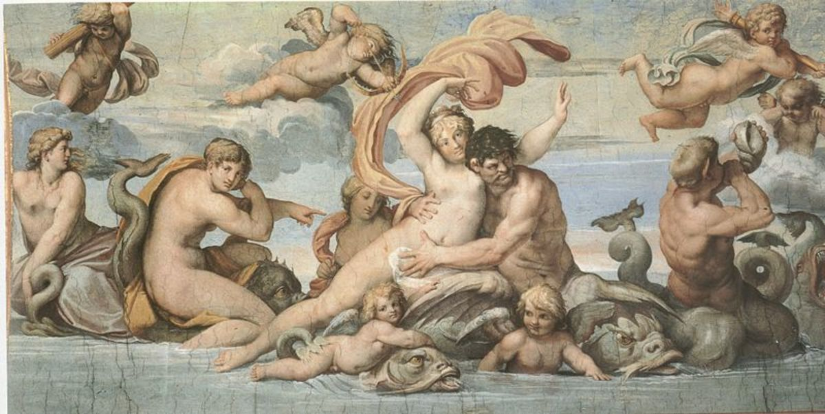 Agostino Carracci, Glaucus and Scylla (a. 1597) Rome Ceiling of Palazzo Farnese Gallery