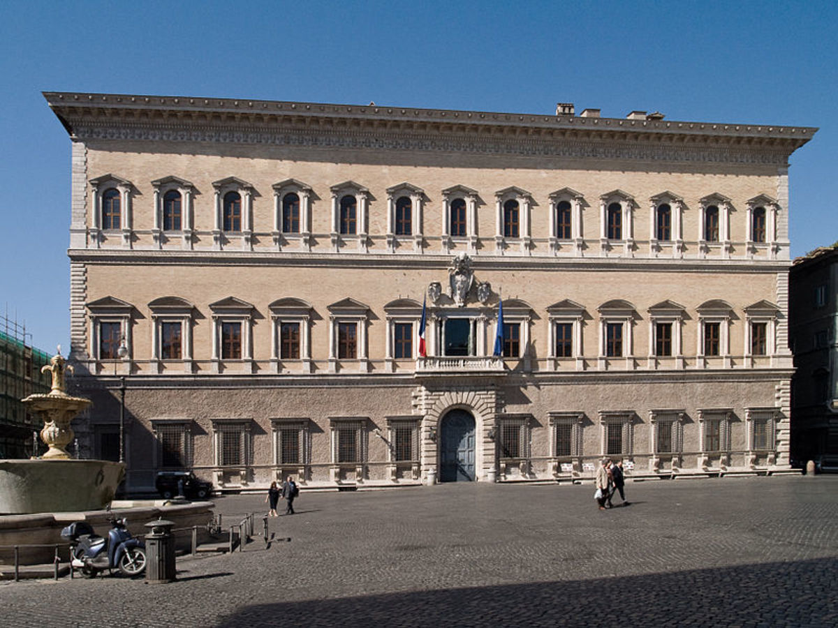The main façade of Palazzo Farnese in Rome