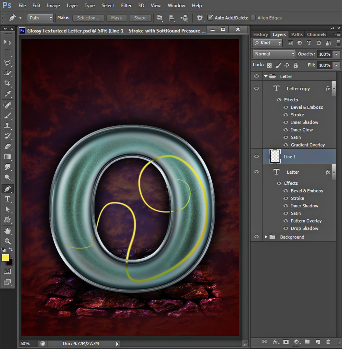 create-glossy-texturized-letter-in-photoshop