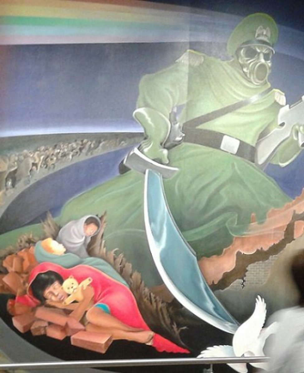 Thousands of oblivious air travelers walk by these sinister murals in the Denver International Airport every day.