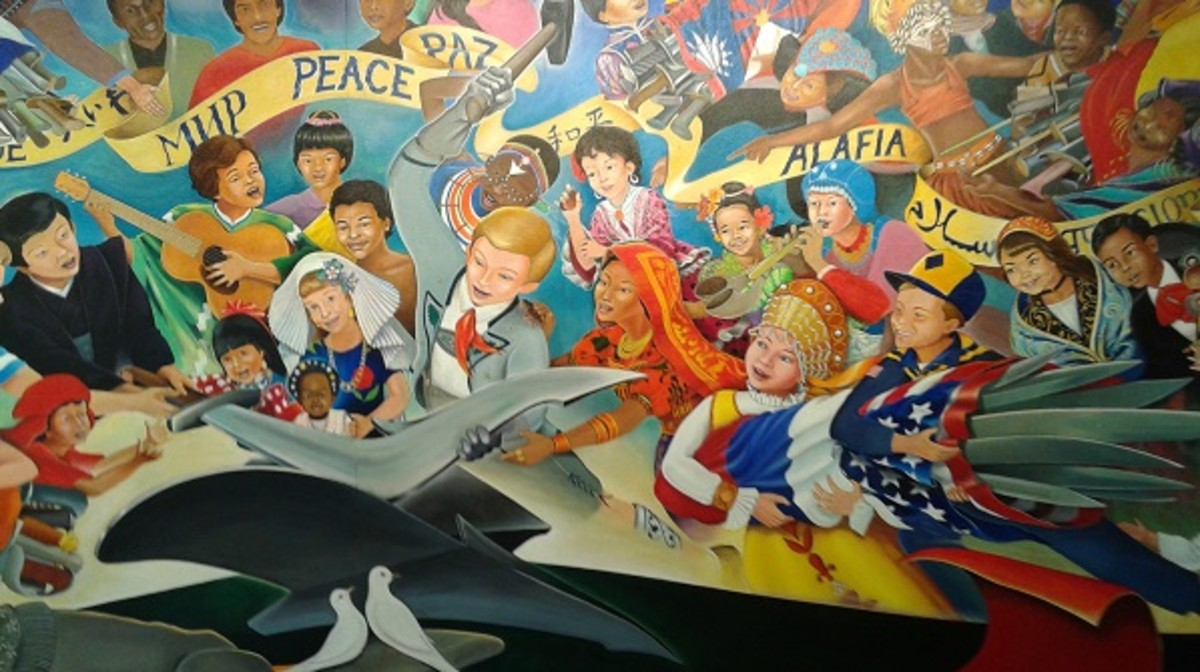 This mural is supposed to depict a German boy beating the swords of all the peoples of the world into plowshares, but I find the Nazi connections a stretch.