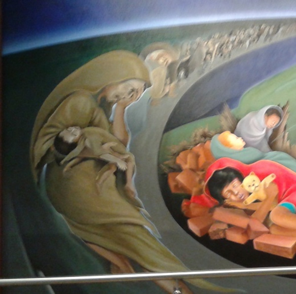 Another portion of the Death Mural on depicts ghostly gassed mothers carrying dead babies - Deliberate depopulation by the New World Order or the La Llorona motif?