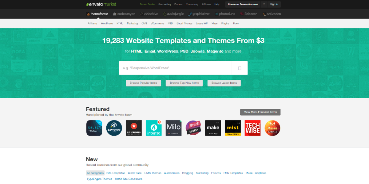 The homepage of ThemeForest, one of the world's largest online marketplaces for WordPress themes and plugins (July 2015).