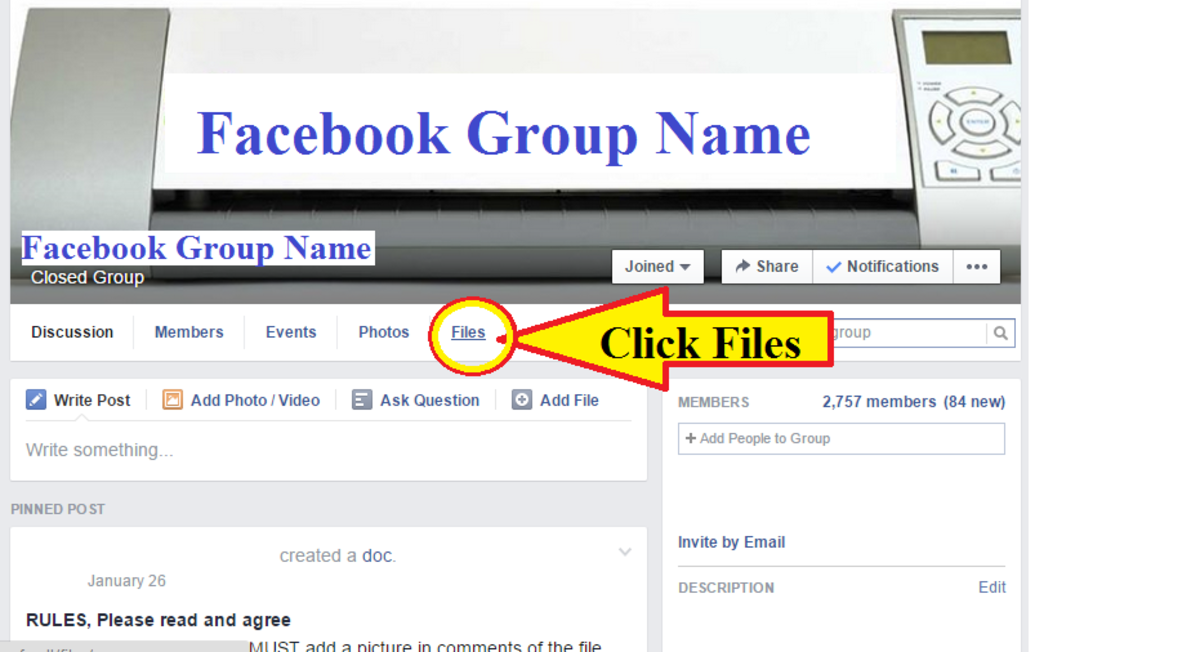 This is where the files tab is located under the group banner.