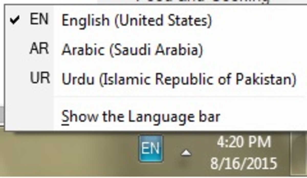 The Language Toolbar