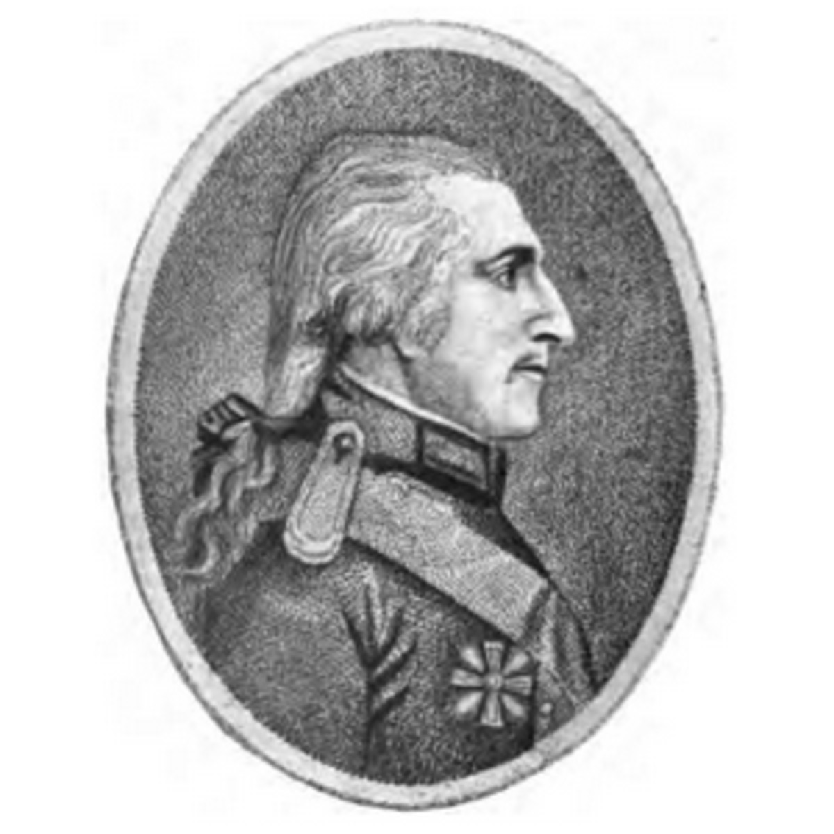 Profile of Count Rumford in uniform.